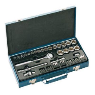 """JETECH/捷科 3/8""""系列公制套筒套装(46件)铁盒 SK3/8-46S 46件 5.5-24mm 1套"""